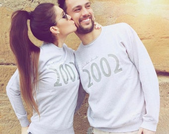 Pack long sleeve grey sweaters JUNTOS DESDE (two adults)