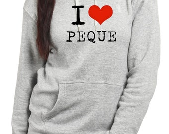 Round neck women hoodie I LOVE PEQUE