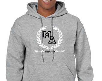 Round neck hoodie for men INITIALS and YEARS of birth