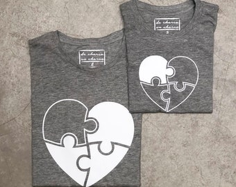 Pack short sleeve grey t-shirts Heart Puzzle (adult + child/baby)