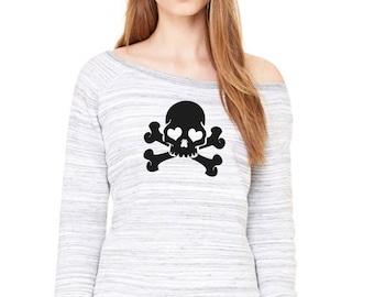 Wide neck women sweater GLITTER SKULLS