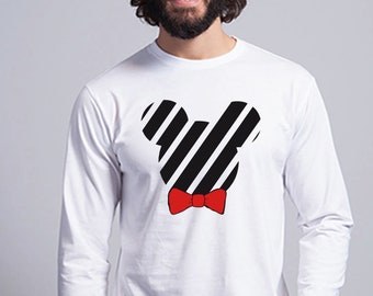 Round neck men long sleeve t-shirt black silhouette with stripes and red or animal print bow tie
