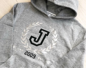 Women long sleeve hoodie INITIAL and YEAR of birth