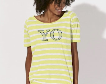 Round neck women STRIPED t-shirt YO