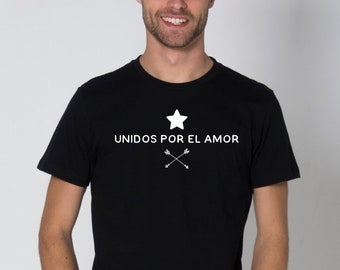 Round neck men short sleeve t-shirt UNIDOS por el AMOR