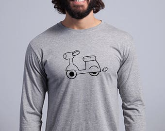 Round neck men long sleeve t-shirt MOTORBIKE