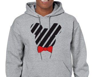 Men hoodie black stripped silhouette with red bow tie