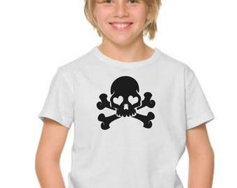Boy t-shirt or body SKULL in black