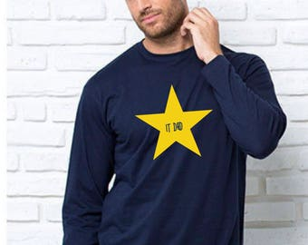 Round neck men long sleeve t-shirt IT DAD in a STAR