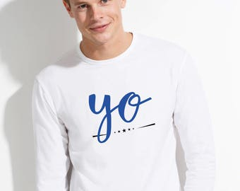 Round neck men long sleeve t-shirt YO