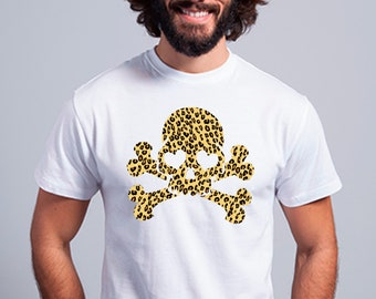 Round neck men short sleeve t-shirt SKULL ANIMAL PRINT