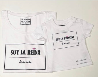 Pack short sleeve white t-shirts ROYAL FAMILY (adult + child/baby)