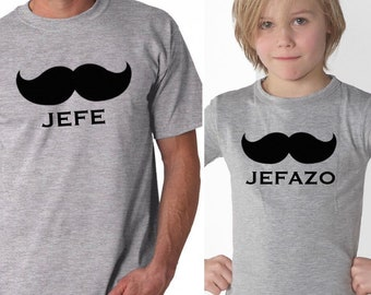 Pack short sleeve black t-shirts JEFE - JEFAZO (adult + child/baby)
