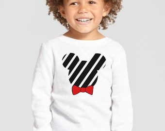 Boy/girl/baby t-shirt or body black silhouette with stripes and red or animal print bow tie