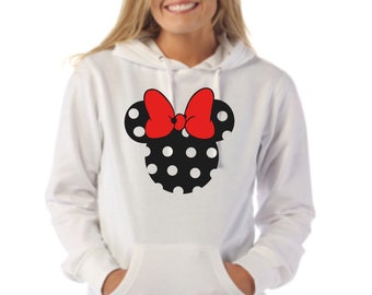 Round neck women hoodie black polka dots silhouette with red bright ribbon