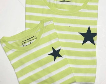 Pack short sleeve black t-shirts Navy star (adult + child/baby)