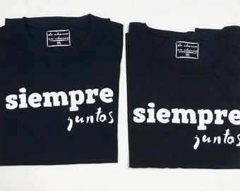 Pack short sleeve black t-shirts Siempre Juntos (adult + child/baby)