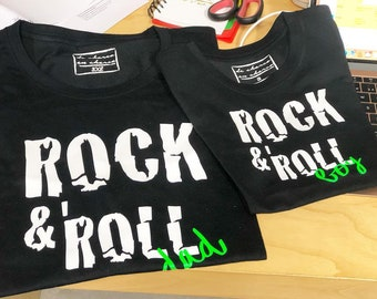 Pack short sleeve black t-shirts ROCK & ROLL (adult + child/baby)
