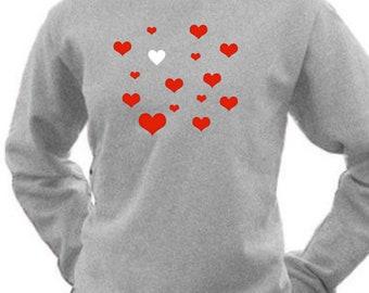 Round neck women sweater HEARTS