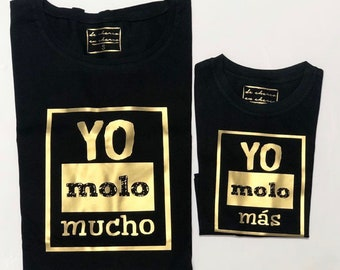 Pack short sleeve black t-shirts Molones (adult + child/baby)