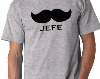 Round neck men short sleeve t-shirt JEFE + MOUSTACHE