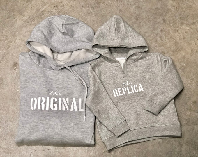 Featured listing image: Pack long sleeve grey hoodies ORIGINAL - REPLICA (adult + child/baby)