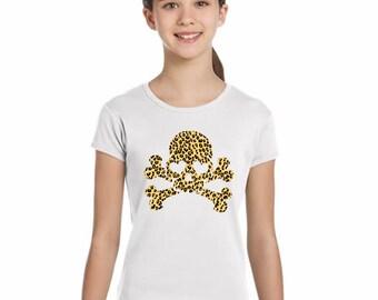 Girl t-shirt or body SKULL ANIMAL PRINT