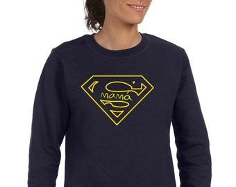 Round neck women sweater SUPER MAMA