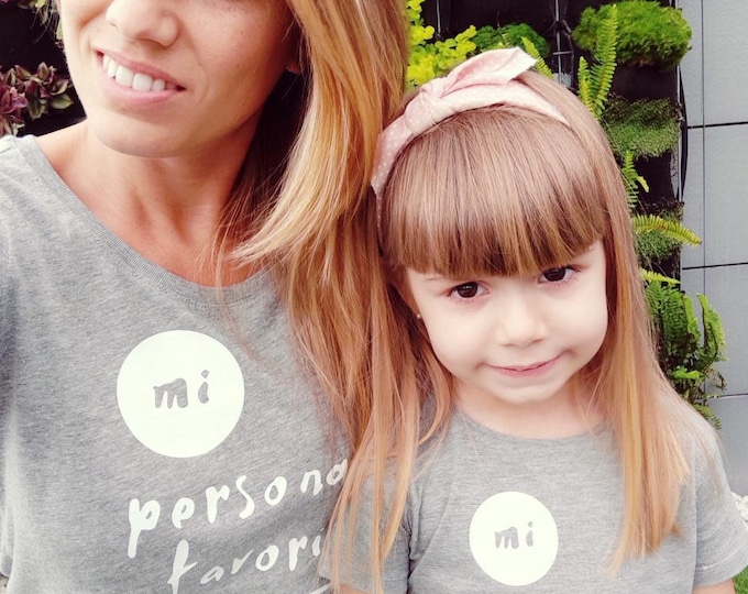 Featured listing image: Pack short sleeve white t-shirts MI FAVORITE PERSON (adult + adult or child/baby)