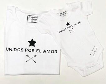 Pack short sleeve white t-shirts Unidos por el Amor (adult + child/baby)
