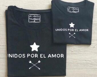 Pack short sleeve black t-shirts Unidos por el Amor (adult + child/baby)