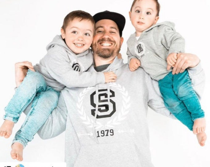 Featured listing image: Men, women, toddler, babies hoodies INITIAL with the year