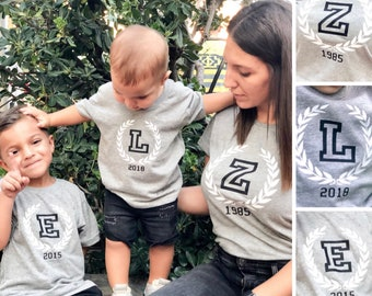 T-shirt for the whole family with INITIAL/S and YEAR/S