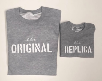 Pack long sleeve grey sweaters The Original - The Replica (adult + child/baby)