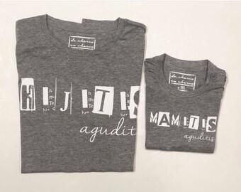 Pack short sleeve grey t-shirts MAMITIS - HIJITIS AGUDITIS (adult + child/baby)