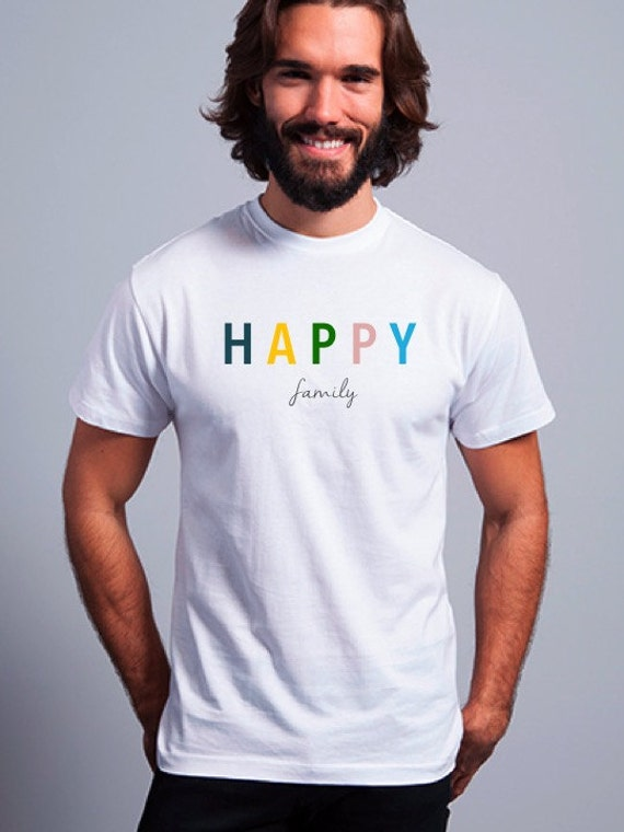 Round neck men short sleeve t-shirt HAPPY