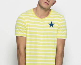 Round neck men short sleeve t-shirt white-lime stripes and a navy star