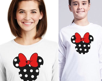 Pack long sleeve black t-shirts Minnie in black with red shinny ribbon(woman + girl)