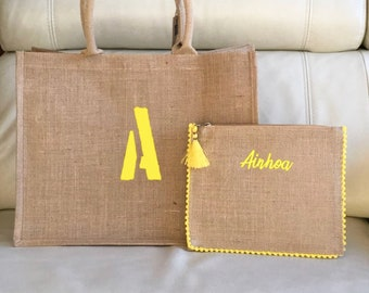 Pack beach bag and toiletry bag, personalized.