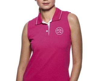 Sleeveless pique polo t-shirt for women De Tee En Tee logo in different colors.