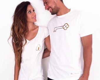 Pack short sleeve white t-shirts Padlock and Key (two adults)