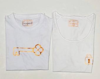Pack short sleeve white t-shirts Padlock and Key (adult + child/baby)