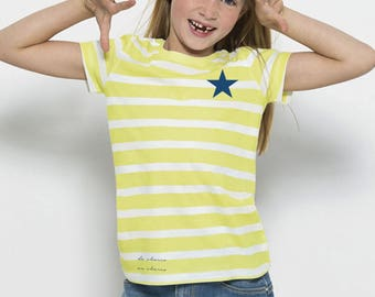 Boy/girl t-shirt stripes white-lime and navy star