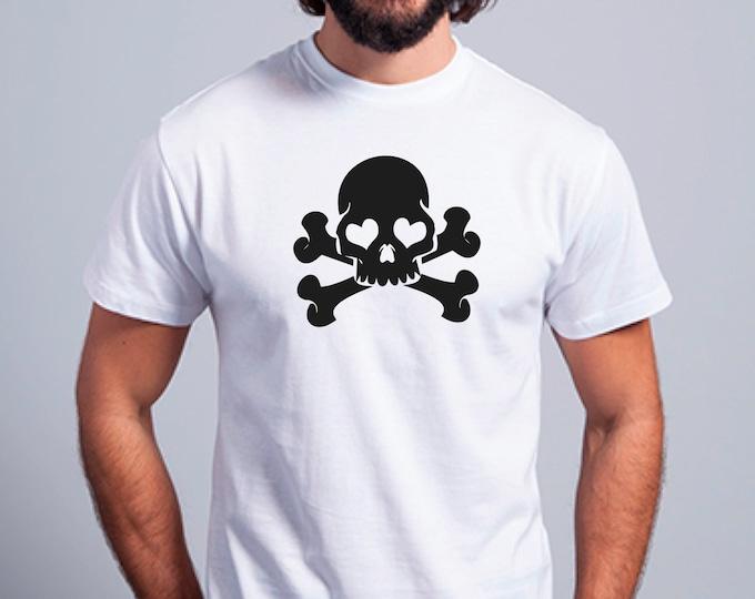 Round neck men short sleeve t-shirt SKULL