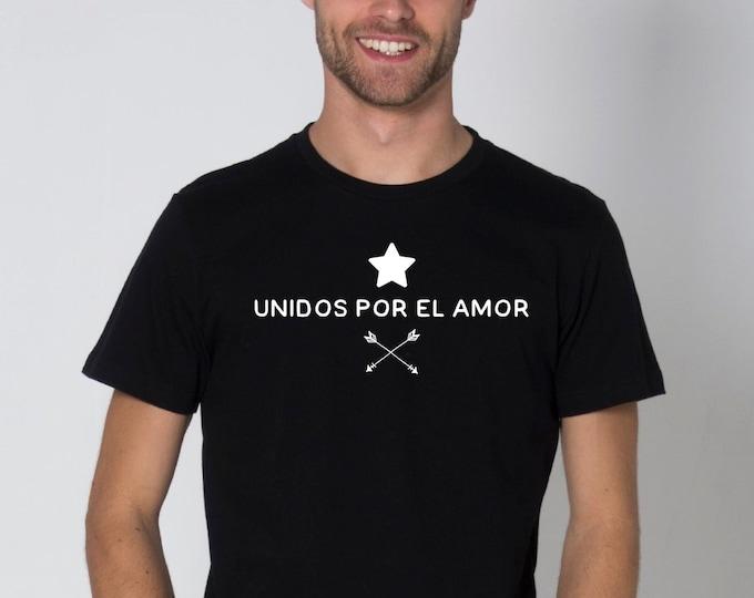 Round neck men short sleeve t-shirt UNIDOS por el AMOR
