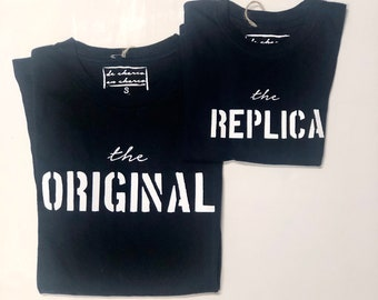 Pack short sleeve white t-shirts The Original-The Replica (adult + child/baby)