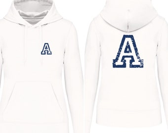 Hoodies for the whole family initial. at the. front and back