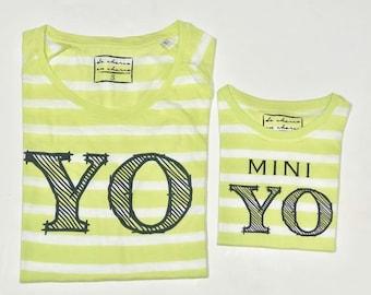 Pack short sleeve black t-shirts Yo-Mini Yo (adult + child/baby)