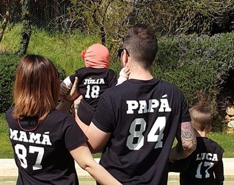 T-shirt for the whole family with NAME and NUMBER at the back