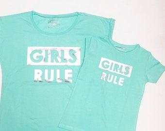 Pack short sleeve black t-shirts GIRLS RULE (woman + girl)